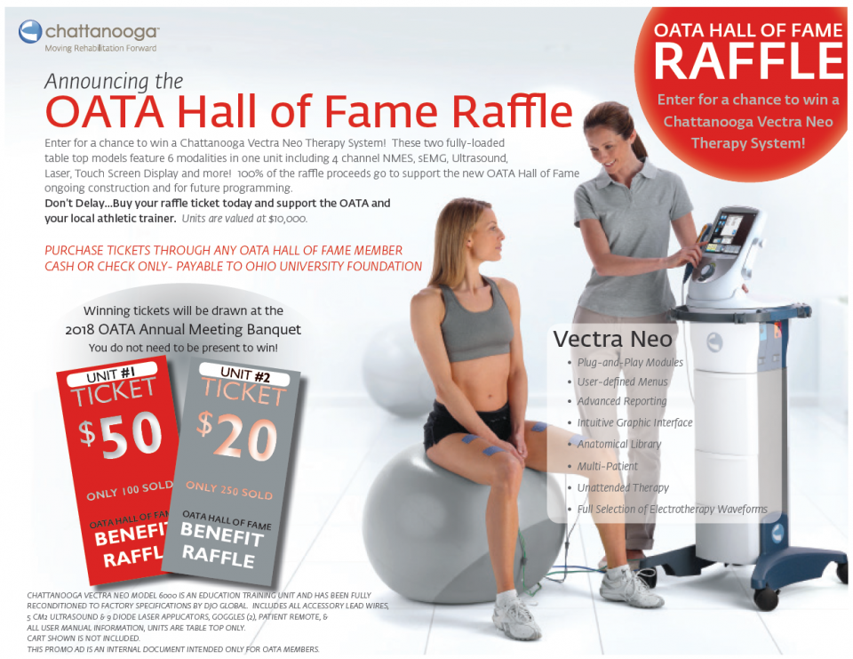 2018 OATA promotional Hall of Fame Raffle